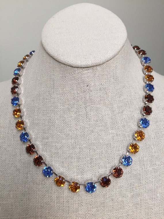 Topaz and Sapphire Crystal Necklace,  Topaz Crystal Necklace, Sapphire Crystal Necklace, Blue Crystal Necklace