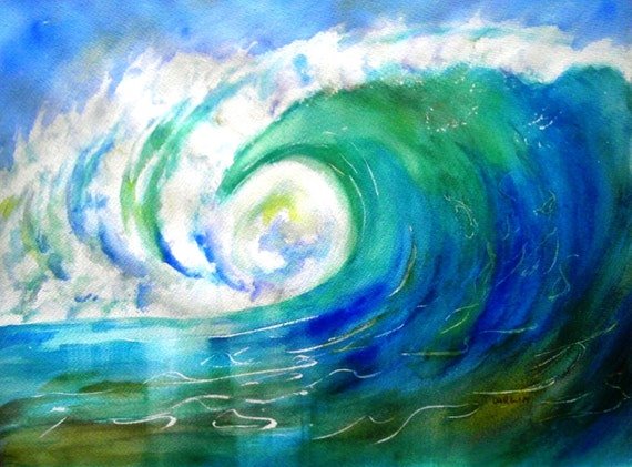 Original Watercolor Seascape Ocean Wave By Carlinartwatercolor