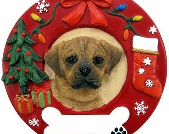 "Puggle Ornament Personalized with your Dog's Name, Hand Painted with a brush, Measures 3.75"" Diameter"