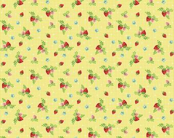 1 Yard Vintage Market by Tasha Noel for Riley Blake Designs- C4566 Yellow Vintage Strawberries