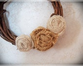 Mini Grapevine Wreath - Burlap and Muslin Roses - Rustic, Shabby Chic, Cottage, Farmhouse