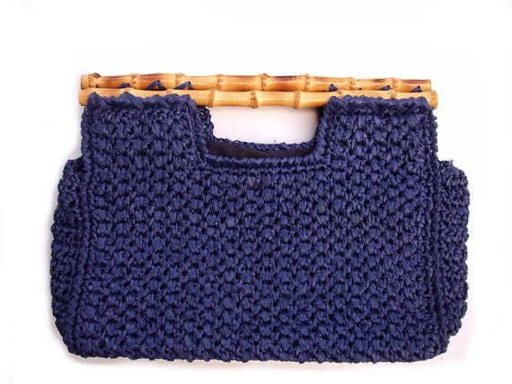 straw purse, navy blue raffia handbag, crochet 1970s macrame bag woven ...