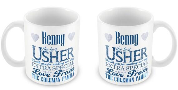 Personalised Wedding Usher Gifts : Personalized Usher Wedding Mug- Thank You Present Gift Boy Blue ...