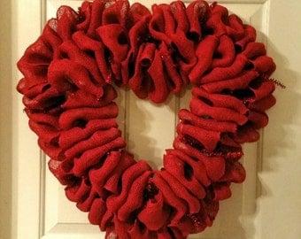 Wreath sale!! red burlap heart wreath