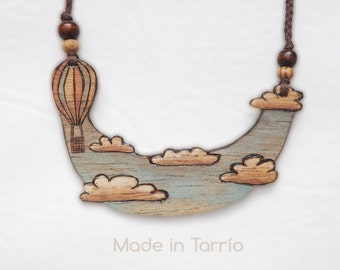 A walk in the clouds: Pyrography wooden necklace