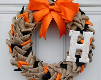 "12"" Burlap and Fabric wreath with Monogram"
