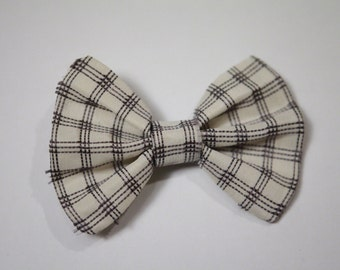 100% Silk White/Charcoal Embroidered Bow