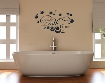 Superb Bath Time With Ducks And Bubbles Bathroom Wall Art Sticker Picture Decal Amazing Design