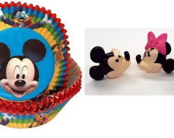 Mickey Mouse Baking Cups and Mickey and Minnie Plastic Rings