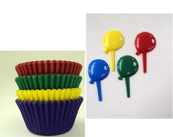 Balloon Cupcake Picks with Assorted Color Baking cups