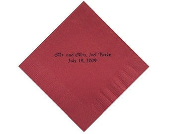 Mr & Mrs Personalized Beverage Napkins