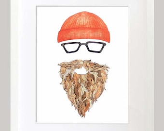 Hipster Watercolor & Ink Print