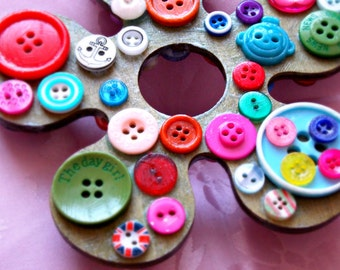 Wooden Flower Wall Art Wall Hanging Vintage Buttons Button Flower Wooden Ornament Flower Ornament Button Ornament Button Craft