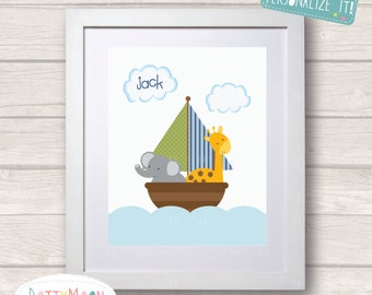 Fun in a boat, elephant and giraffe,boys, Childrens / Art Nursery Print,  Wall Decor,  Wall Art. Can be personalized with name.