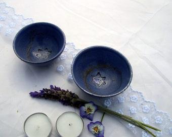Shabbat candle holders, judaica , 2 blue Star of David small bowls , ceramic dip bowls,  , Jewish art