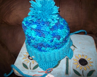 Hand Crocheted Hat For Kids In Varigated Blues
