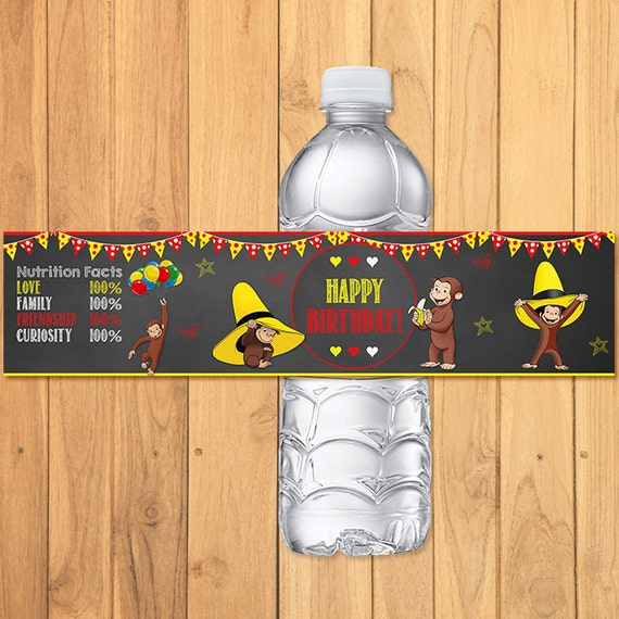 Curious George Drink Labels Chalkboard * Curious George Birthday * Curious George Water Bottel Labels * Curious George Favors