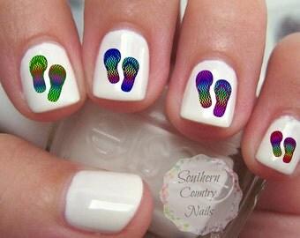 Nails flip flops | Etsy