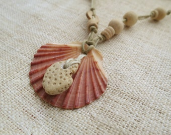 Natural shell and coral necklace
