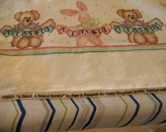 Daisy Kingdom Border Fabric Tisket Tasket Bunny and bear. 1996 by yd