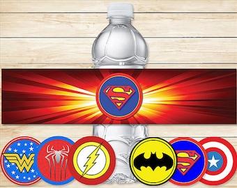 Printable Superhero Water Bottle Labels Basic Logos // Superhero Drink labels / Super Hero Water Bottle / Superhero Party / Superhero Favors