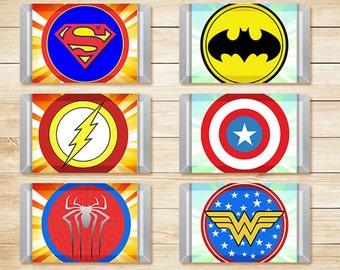 Printable Superhero Mini Candy Bar Wraps Sunburst // Superhero Chocolate Bar Wraps //  Superhero Party Favors