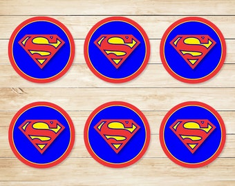 Superman Sticker // Superman Cupcake Topper // Superman Party Favors // Superman Party Supplies // Superman Logo // Superhero 2 inch Circles