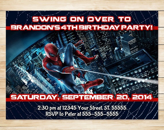 Spiderman Invitation and Thank You Card // Spiderman Invite // Spiderman Birthday // Superhero