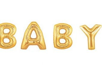 """Gold Foil 16"""" BABY Mylar Balloons for baby showers"""