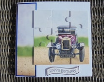 Vintage motor car card. Jigsaw puzzle card. Old car card. Vintage car birthday card. Old car birthday. Motorist birthday. Puzzle birthday.