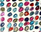Red Turquoise Dots Tea Towel ~ Flour Sack ~ Ellie Fidler Painting