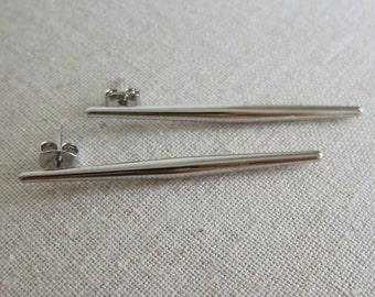 Spear Stud Earrings - Silver
