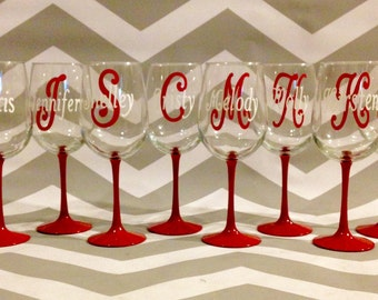 Set of 8 Personalized Wine Glasses