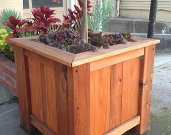 Handcrafted Redwood Outdoor Planter Box