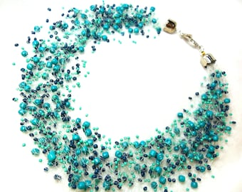 Turquoise airy crochet necklace, statement necklace, everyday necklace, multistrand necklace, gift for her