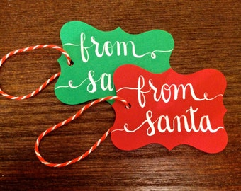 """Modern Calligraphy Holiday Gift Tag // """"From Santa"""" // 1.75 x 3-inch Handwritten, Red or Green Tag"""