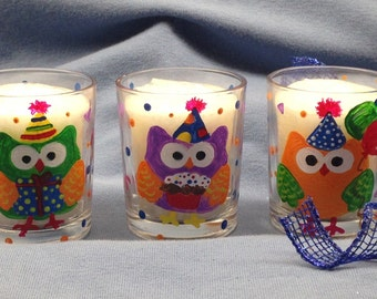 Hand Painted Votive Candle Holders - Set of 3 Birthday Owl Hand Painted Glass Votive Candle holders