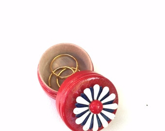 Hand painted Red Wood Box with Vintage Red, White, and Blue Brooch