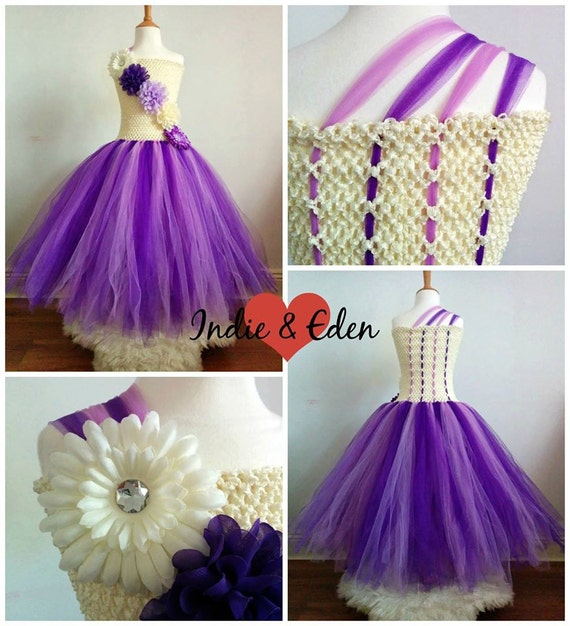Items similar to girls tutu dress for wedding bridesmaid for Cream and purple wedding dresses