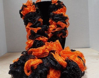 Team Spirit Crochet Ruffled Scarf, Handmade Ruffle Team Spirit Orange and Black Lacy College Football