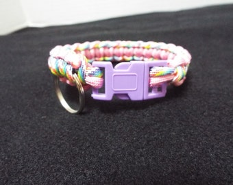 Paracord Dog Collar, Small Handmade Paracord / 550 cord Pet Collar, Pink and Rainbow Custom Survival Animal Collar done in Cobra Stitch