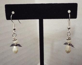 Angel Earrings, Handmade White Pearl Earrings, Wing Earrings