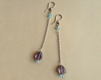 Earrings silver chain, amethyst and apatite beads