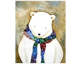 Polar bear art, polar bear nursery, kids wall art, kids room decor, polar bear baby, cute animal art, cute animal drawing, children's art.