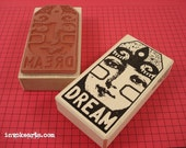 Dream Tag Stamp / Invoke Arts Collage Rubber Stamps