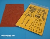 Catrina Paper Doll / Invoke Arts Collage Rubber Stamps / Unmounted Stamp Set