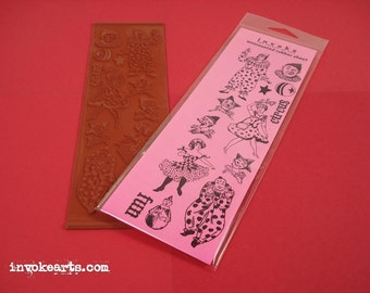 Sale / Circus Clowns / Invoke Arts Collage Rubber Stamps / Unmounted Stamp Set