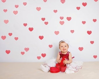 Hearts Wall decals Girls Wall stickers Baby Nursery Room Decor Kit Hearts
