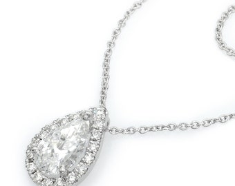 18K White Gold Pendant Necklace, Diamond 1.01 Ct. Round SI2 F Necklace, Fine Jewelry , Wedding Jewelry