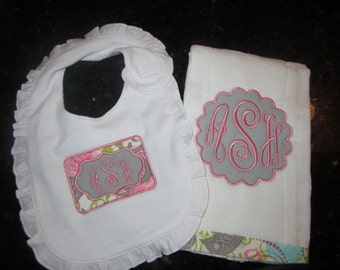 Burp cloth, and Bib set